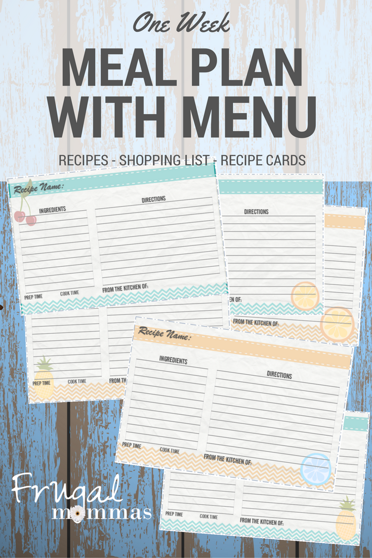 Frugal Mommas Weekly Meal Plan