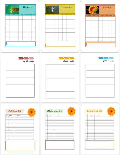 homemakers binder planning pages & calendar