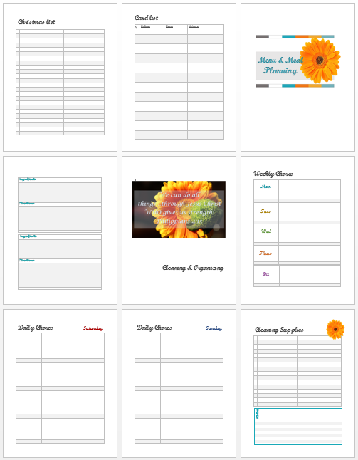 home planning pages
