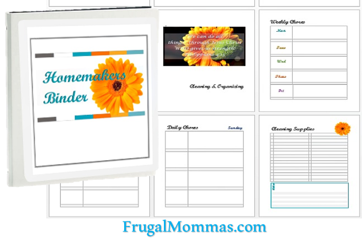 Homemakers Binder & home planner pages - Best Money Saving Tips