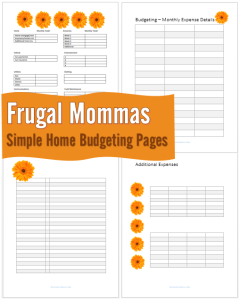 Frugal Mommas Simple Home Budgeting Pages