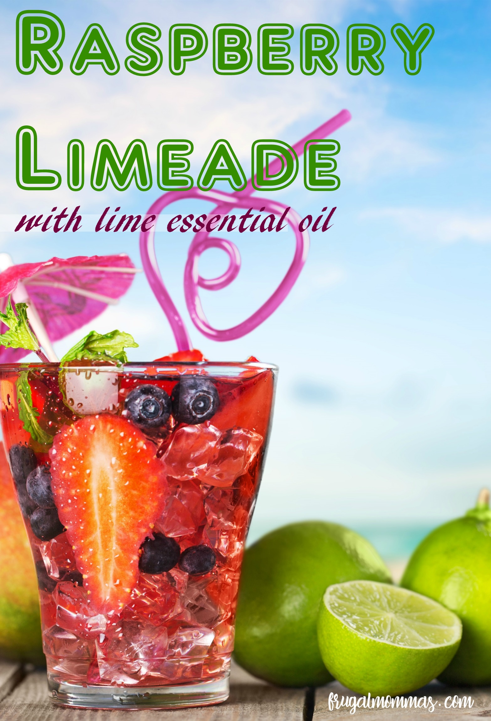 essential oils raspberry limeade drink