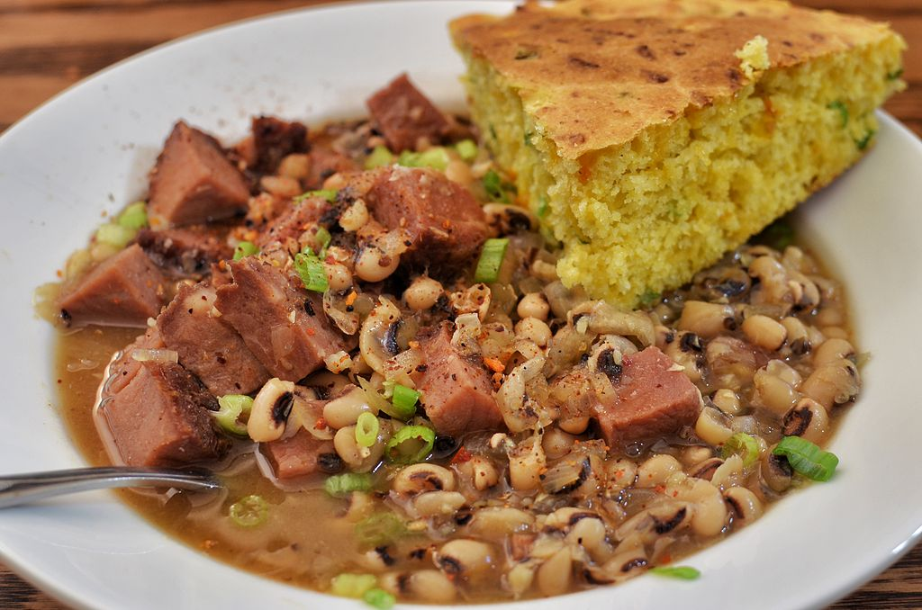 black eyed peas and corn bread