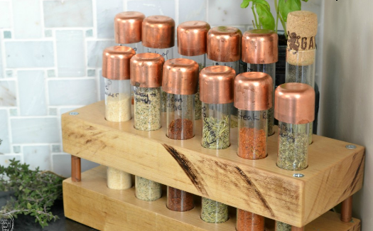 DIY Copper Test Tube Spice Rack